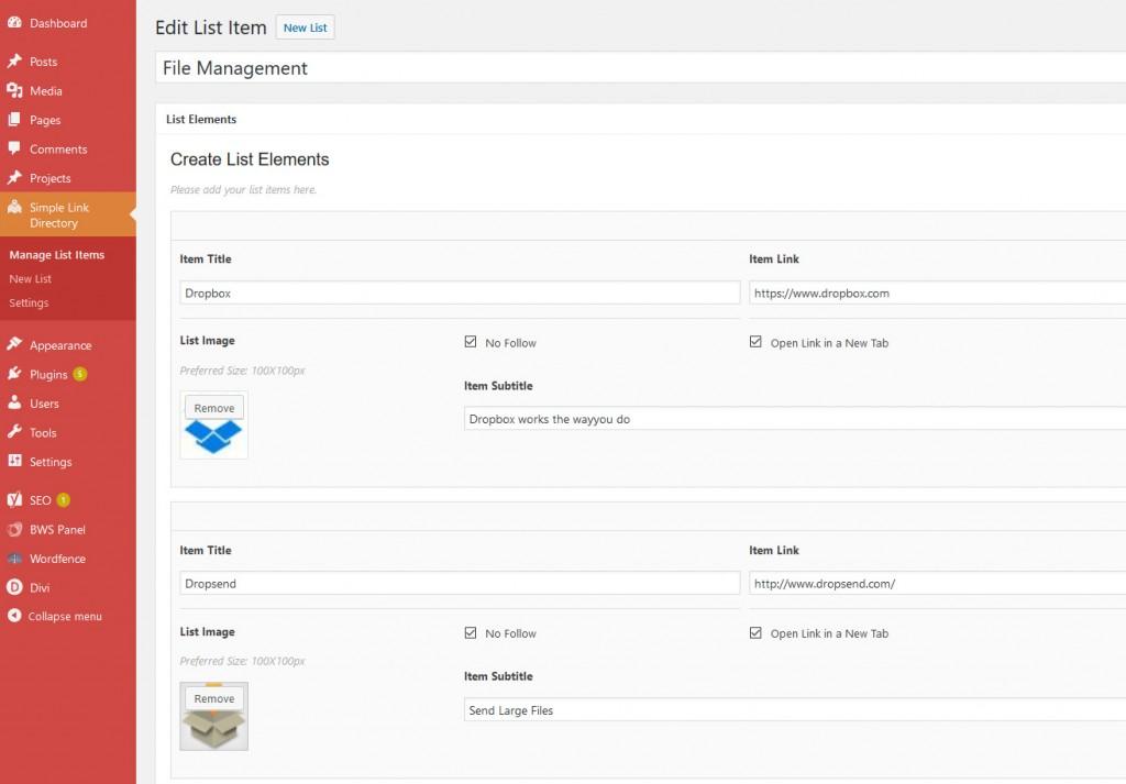 WordPress Plugin Simple Link Directory