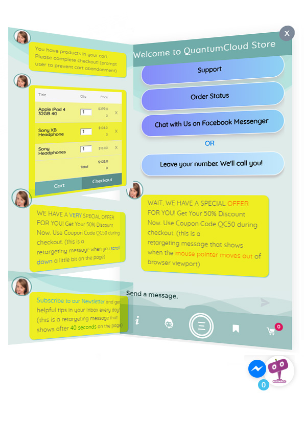 ChatBot for WooCommerce - Retargeting, Exit Intent, Abandoned Cart, Facebook Live Chat - WoowBot - 14